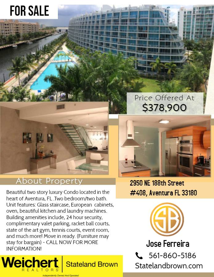 Beautiful Two story Luxury Condo for sale in Aventura, FL