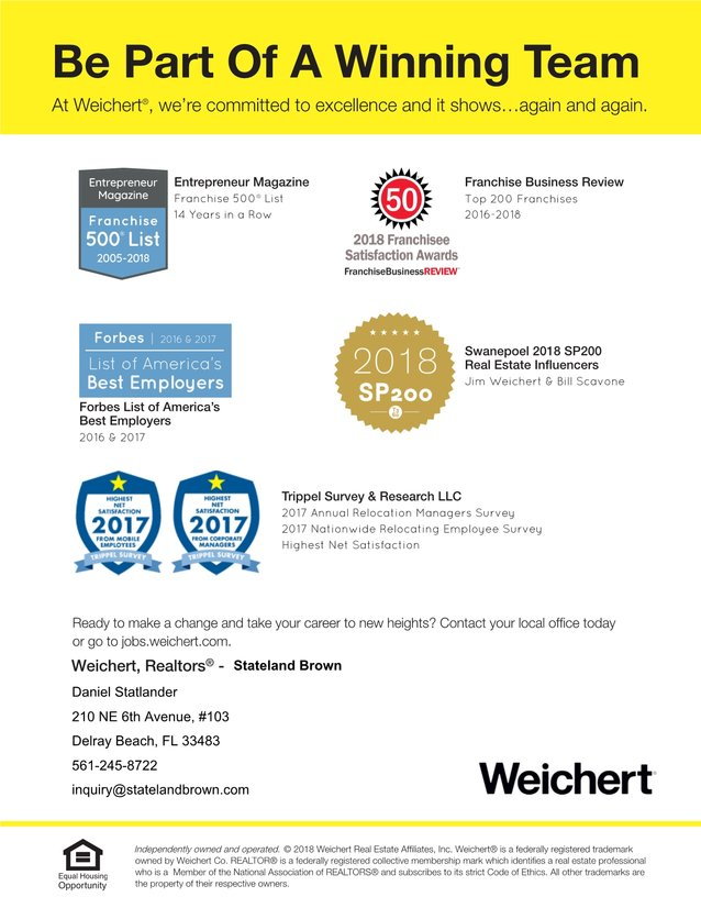Weichert, Realtors ® - Stateland Brown is Seeking Real Estate Sales Associates