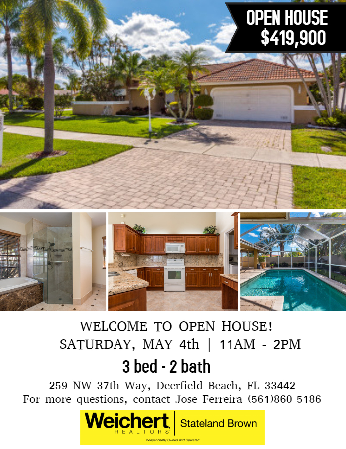 Weichert, Realtors ® - Stateland Brown Open House on Saturday, May 4th in Deerfield Beach