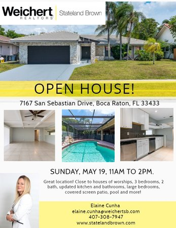 Open House in Boca Del Mar,  Boca Raton on Sunday, May 19th