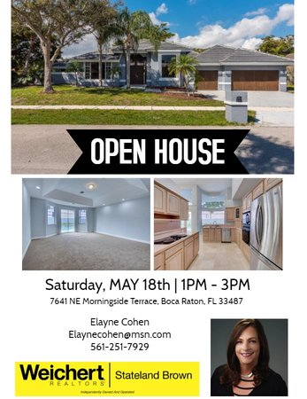 Open House in Morningside Terrace, Boca Raton on Saturday, May 18th