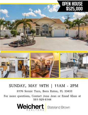 Open House in Scenic Turn, Boca Raton on Sunday, May 19th