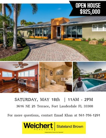Open House in Fort Lauderdale on Saturday, May 18th