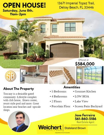 Open House in Delray Beach on Saturday, June 8th