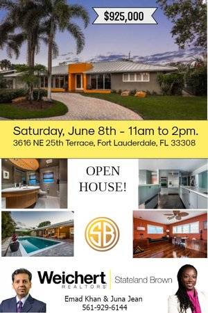 Open House in Fort Lauderdale on Saturday, June 8th