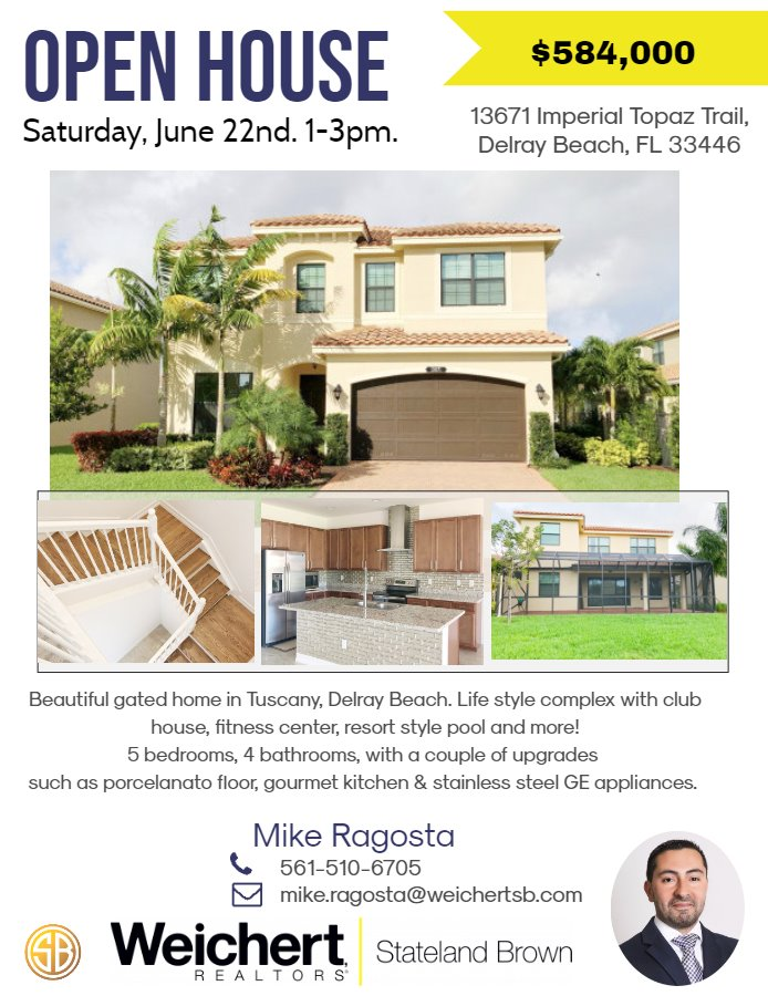 Open House in Delray Beach (Tuscany) on Saturday, June 22nd
