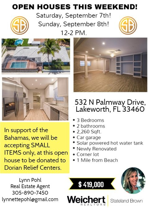 Open House and Hurricane Dorian Relief in Lake Worth this Weekend!