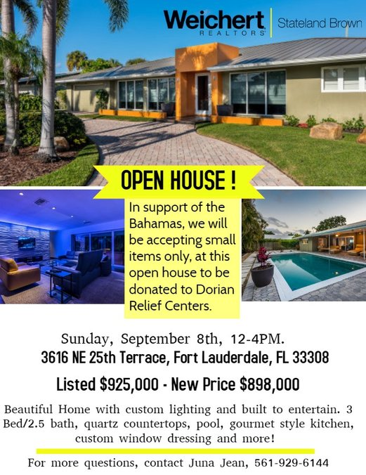 Open House and Hurricane Dorian Relief in Fort Lauderdale this Weekend!